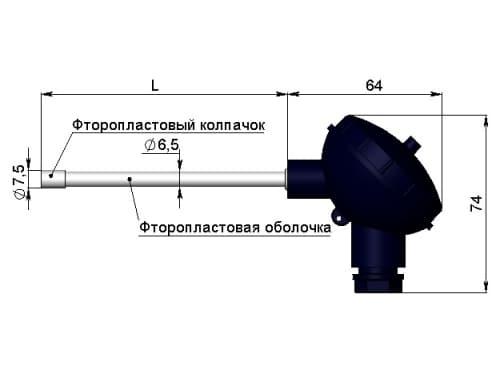 чертеж термометра для агрессивных сред сопротивления 1199/24 - ТД Энергоприбор
