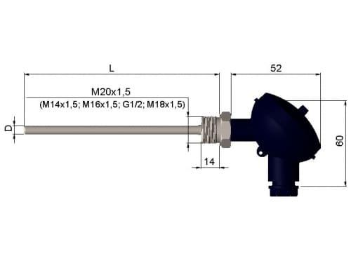 чертеж термометра (термопреобразователя) сопротивления 1199/23 - ТД Энергоприбор