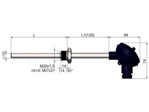 чертеж термометра (термопреобразователя) сопротивления 1199/011 - ТД Энергоприбор