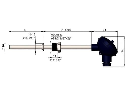 чертеж термометра (термопреобразователя) сопротивления 1199/11 - ТД Энергоприбор