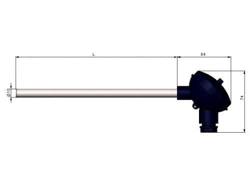 чертеж термометра (термопреобразователя) сопротивления 1199/12 - ТД Энергоприбор