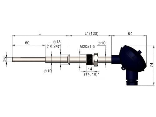 чертеж термометра (термопреобразователя) сопротивления 1199/13 - ТД Энергоприбор