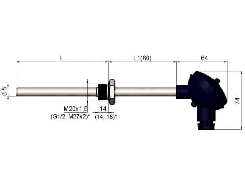 чертеж термометра (термопреобразователя) сопротивления 1199/014 - ТД Энергоприбор