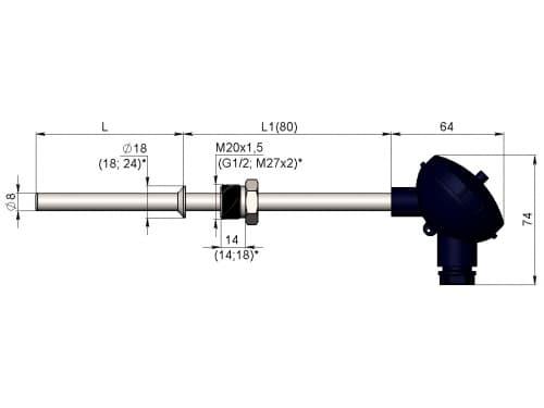 чертеж термометра (термопреобразователя) сопротивления 1199/14 - ТД Энергоприбор