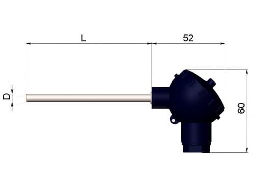 чертеж термопары (преобразователя термоэлектрического) 1199/22 - ТД Энергоприбор