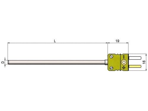 чертеж термопары (преобразователя термоэлектрического) с разъемом1199/221 - ТД Энергоприбор