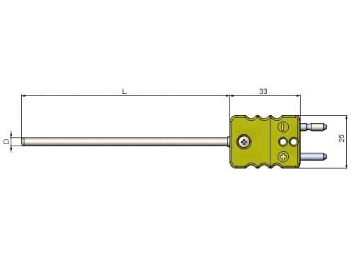 чертеж термопары (преобразователя термоэлектрического) с разъемом 1199/222 - ТД Энергоприбор