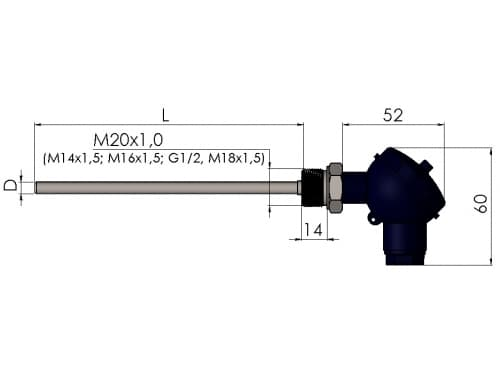 чертеж термопары (преобразователя термоэлектрического) 1199/23 - ТД Энергоприбор