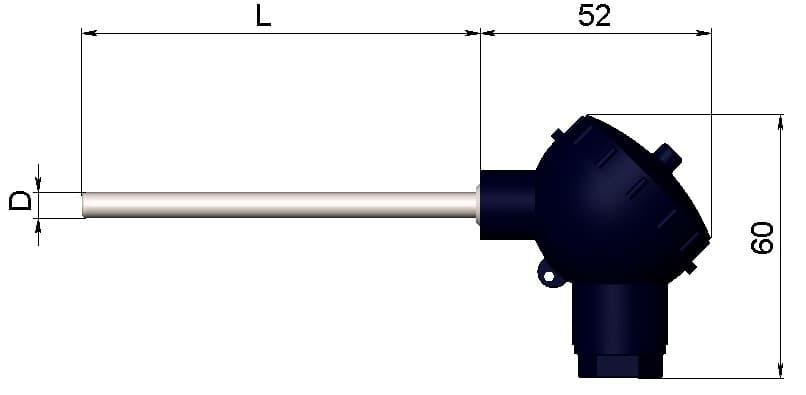 чертеж термометра (термопреобразователя) сопротивления 1199/22 - ТД Энергоприбор