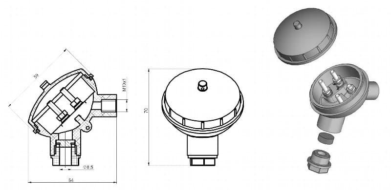 вид головки большой для термодатчика Г-01 - ТД Энергоприбор