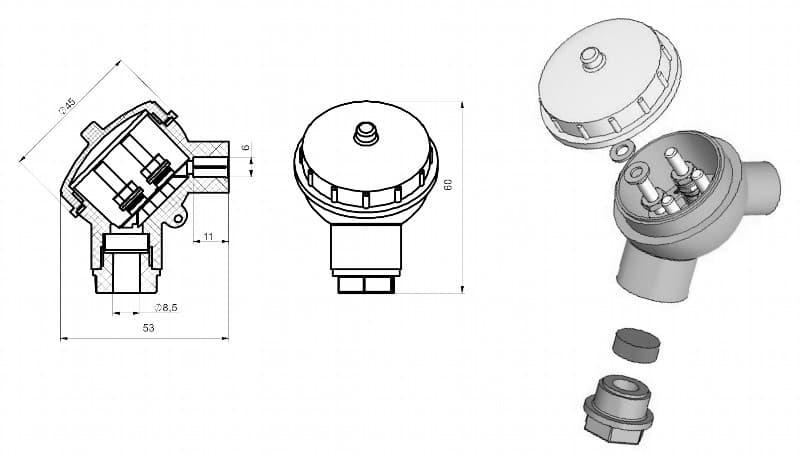 вид головки малой для термодатчика Г-02 - ТД Энергоприбор